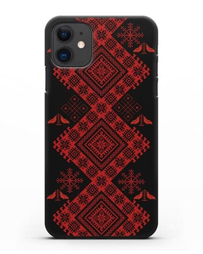 Чехол с белорусским красным орнаментом и женскими символами силикон черный для iPhone 11