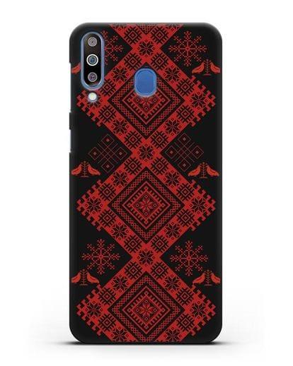 Чехол с белорусским красным орнаментом и женскими символами силикон черный для Samsung Galaxy M30 [SM-M305F]