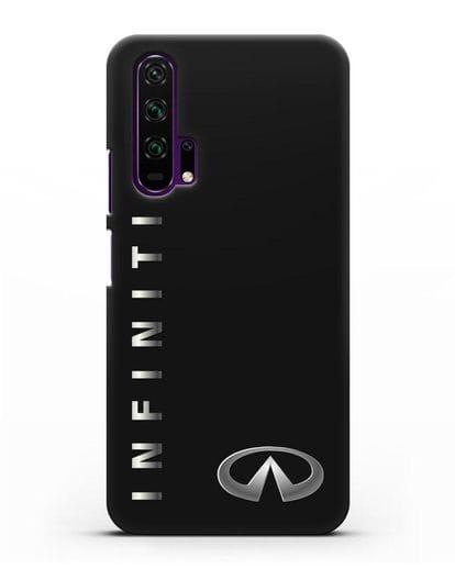 Чехол с надписью Infiniti и логотипом силикон черный для Honor 20 Pro