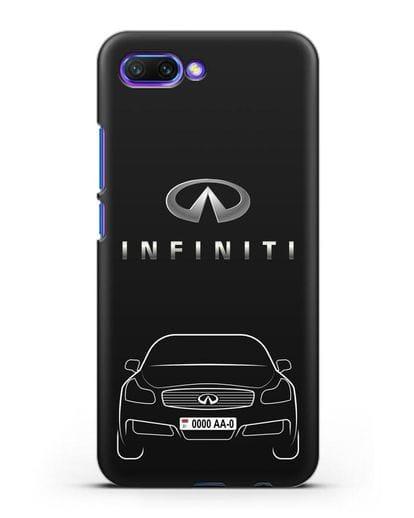 Чехол Infiniti G с номерным знаком силикон черный для Honor 10