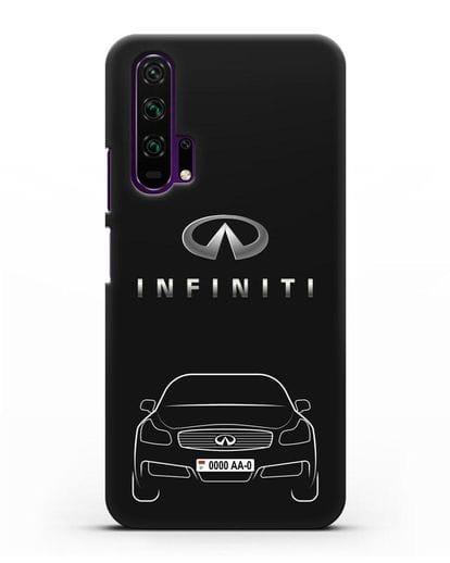 Чехол Infiniti G с номерным знаком силикон черный для Honor 20 Pro