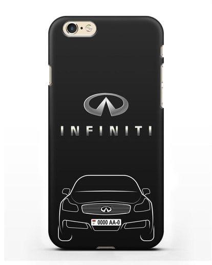 Чехол Infiniti G с номерным знаком силикон черный для iPhone 6