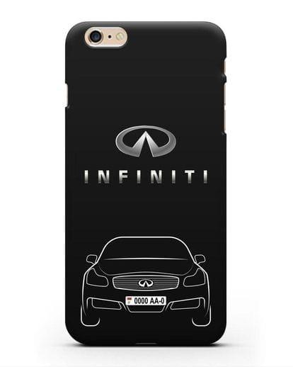 Чехол Infiniti G с номерным знаком силикон черный для iPhone 6s Plus