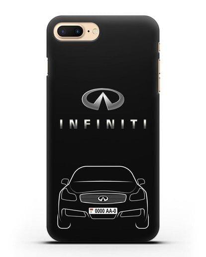 Чехол Infiniti G с номерным знаком силикон черный для iPhone 7 Plus