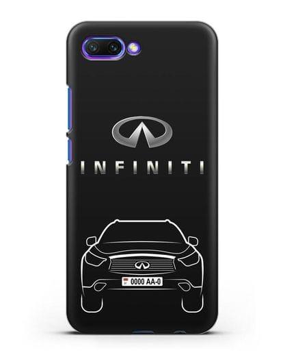 Чехол Infiniti FX с автомобильным номером силикон черный для Honor 10