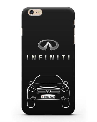 Чехол Infiniti FX с автомобильным номером силикон черный для iPhone 6s Plus