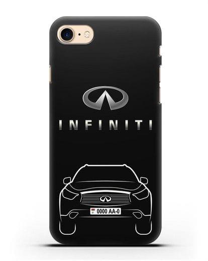 Чехол Infiniti FX с автомобильным номером силикон черный для iPhone SE 2020