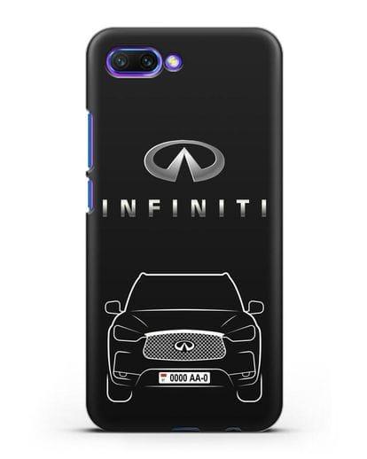 Чехол Infiniti QX с номерным знаком силикон черный для Honor 10