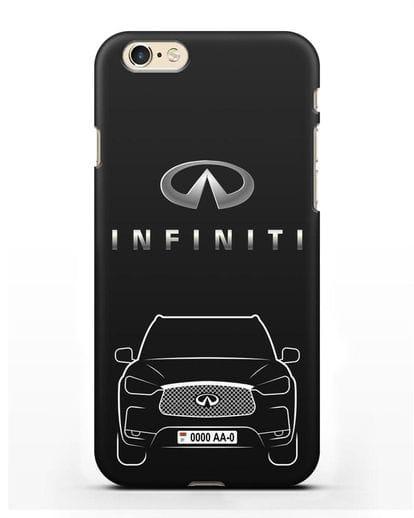 Чехол Infiniti QX с номерным знаком силикон черный для iPhone 6