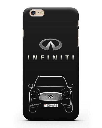 Чехол Infiniti QX с номерным знаком силикон черный для iPhone 6s Plus