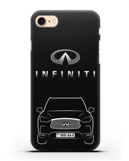 Чехол Infiniti QX с номерным знаком силикон черный для iPhone SE 2020