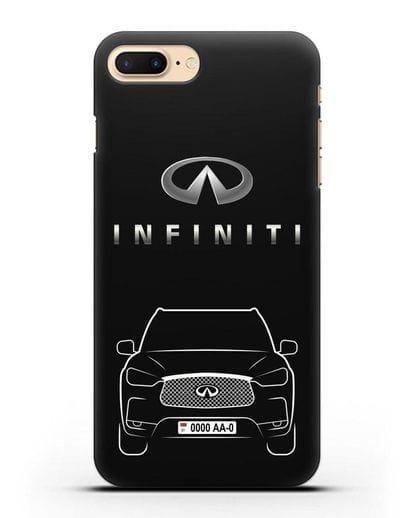 Чехол Infiniti QX с номерным знаком силикон черный для iPhone 7 Plus