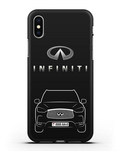 Чехол Infiniti QX с номерным знаком силикон черный для iPhone X