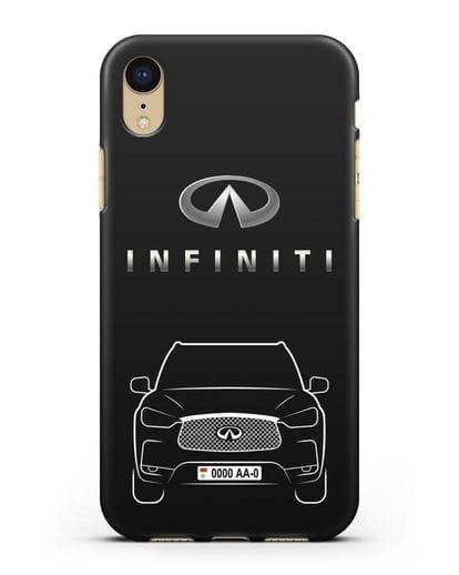 Чехол Infiniti QX с номерным знаком силикон черный для iPhone XR