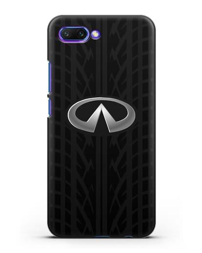 Чехол с логотипом Инфинити с протектором шин силикон черный для Honor 10