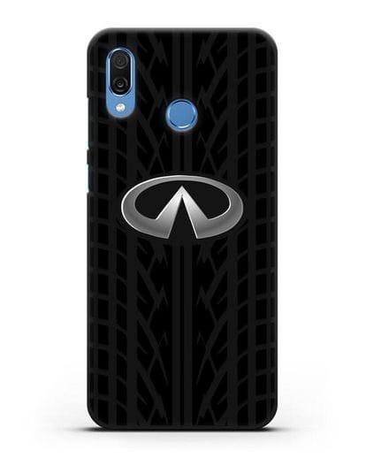 Чехол с логотипом Инфинити с протектором шин силикон черный для Honor Play