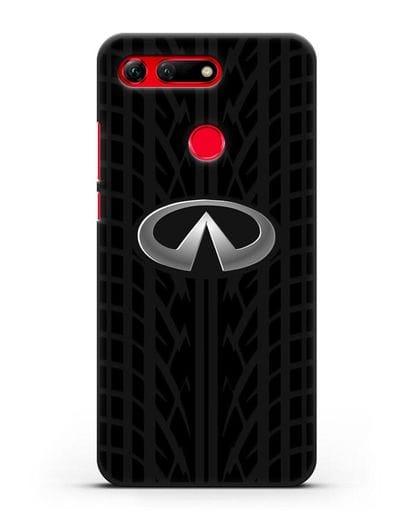 Чехол с логотипом Инфинити с протектором шин силикон черный для Honor View 20