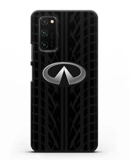 Чехол с логотипом Инфинити с протектором шин силикон черный для Honor View 30 Pro