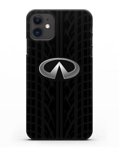 Чехол с логотипом Инфинити с протектором шин силикон черный для iPhone 11
