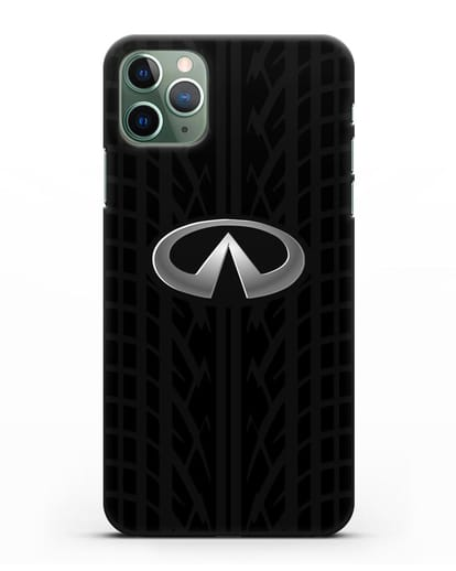 Чехол с логотипом Инфинити с протектором шин силикон черный для iPhone 11 Pro Max
