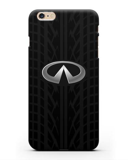 Чехол с логотипом Инфинити с протектором шин силикон черный для iPhone 6s Plus