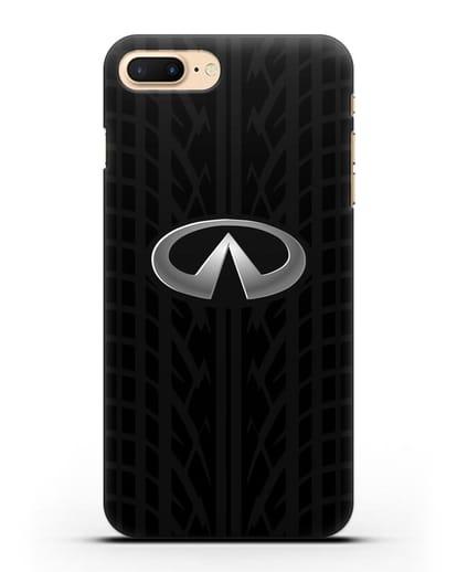 Чехол с логотипом Инфинити с протектором шин силикон черный для iPhone 7 Plus