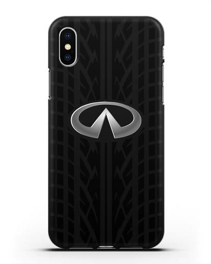 Чехол с логотипом Инфинити с протектором шин силикон черный для iPhone X