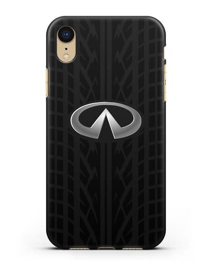 Чехол с логотипом Инфинити с протектором шин силикон черный для iPhone XR