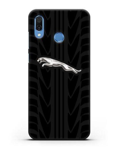 Чехол с символикой Ягуар с протектором шин силикон черный для Honor Play