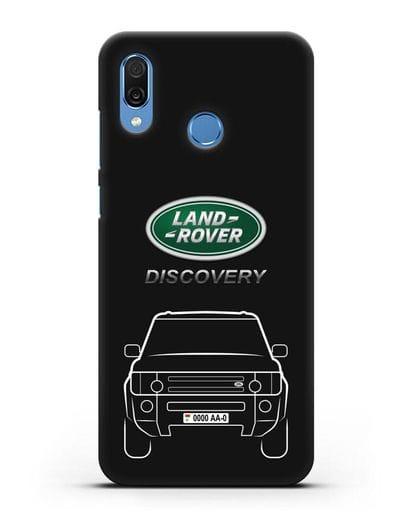 Чехол Land Rover Discovery с автомобильным номером силикон черный для Honor Play