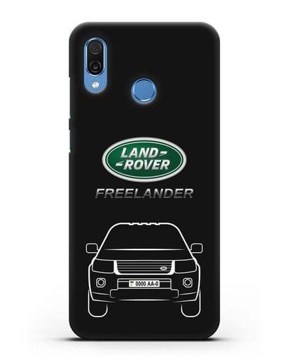 Чехол Land Rover Freelander с номерным знаком силикон черный для Honor Play