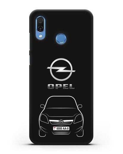Чехол Opel Zafira с автомобильным номером силикон черный для Honor Play