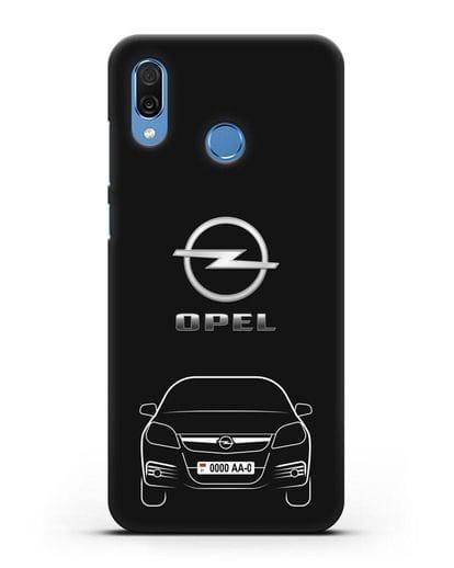 Чехол Opel с автомобильным номером силикон черный для Honor Play