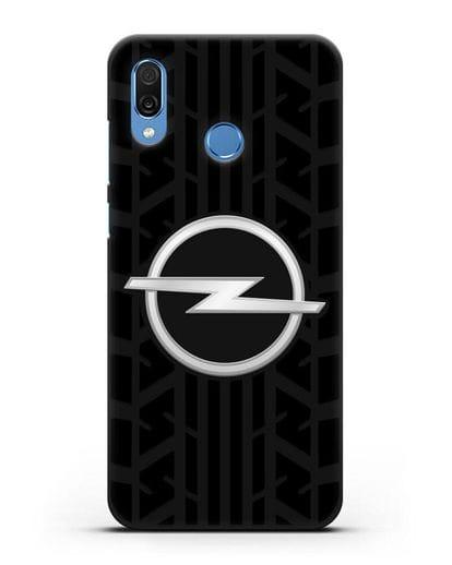 Чехол с эмблемой Opel с протектором шин силикон черный для Honor Play
