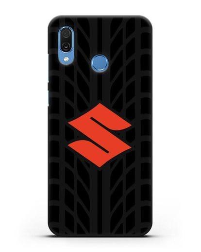 Чехол с эмблемой Suzuki с протектором шин силикон черный для Honor Play