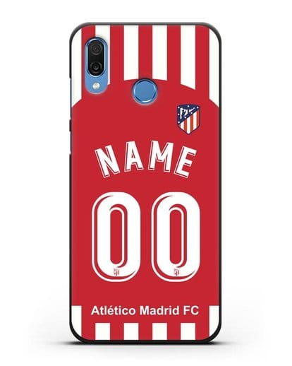 Именной чехол FC Atletico Madrid с фамилией и номером красно-белая форма силикон черный для Honor Play
