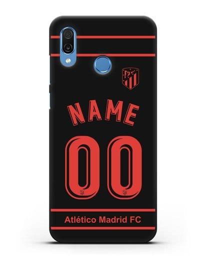 Именной чехол FC Atletico Madrid с фамилией и номером черная форма силикон черный для Honor Play