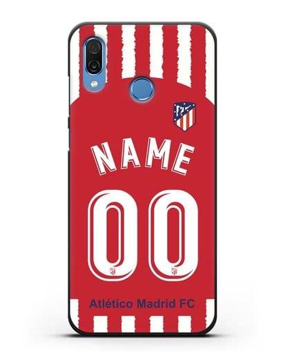 Именной чехол ФК Атлетико Мадрид с фамилией и номером (сезон 2020-2021) домашняя форма силикон черный для Honor Play