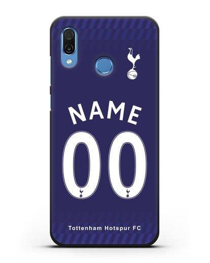 Именной чехол FC Tottenham с фамилией и номером синяя форма силикон черный для Honor Play