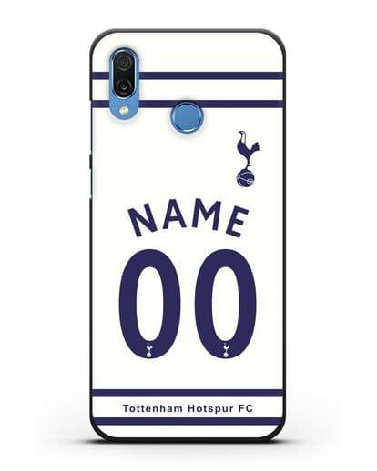Именной чехол FC Tottenham с фамилией и номером белая форма силикон черный для Honor Play