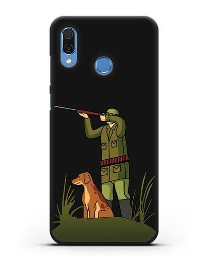Чехол с иллюстрацией Охотник и собака силикон черный для Honor Play