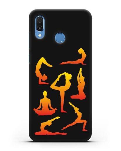 Чехол со стикерами Йога асаны силикон черный для Honor Play