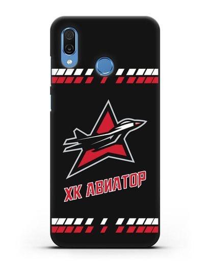 Чеxол с логотипом ХК Авиатор силикон черный для Honor Play