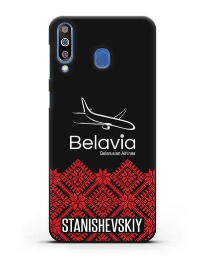 Чехол с именем, фамилией с белорусским орнаментом и символикой Белавиа силикон черный для Samsung Galaxy M30 [SM-M305F]
