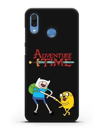 Чехол Фин и Джейк и надпись Adventure Time силикон черный для Honor Play