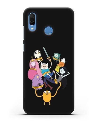 Чехол с иллюстрацией героев Adventure Time силикон черный для Honor Play