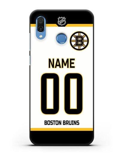 Чехол ХК Бостон Брюинз с фамилией и номером белая форма силикон черный для Honor Play