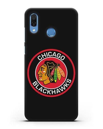 Чеxол с логотипом Chicago Blackhawks силикон черный для Honor Play