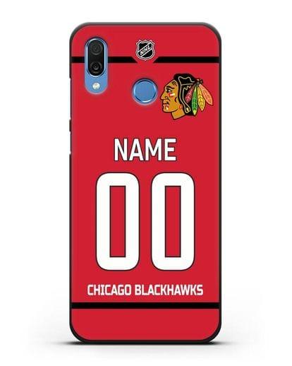 Чехол ХК Чикаго Блэкхокс с фамилией и номером красная форма силикон черный для Honor Play