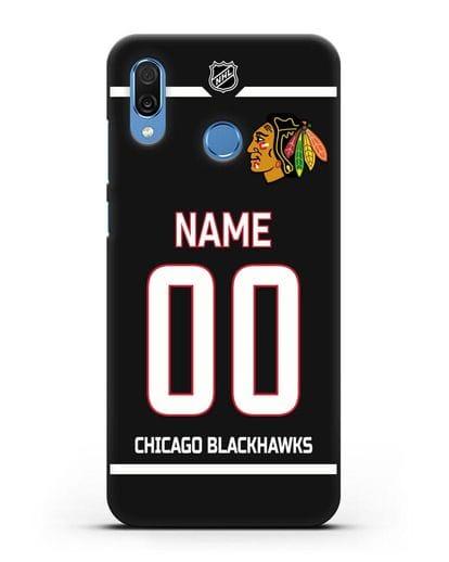 Чехол ХК Чикаго Блэкхокс с фамилией и номером черная форма силикон черный для Honor Play